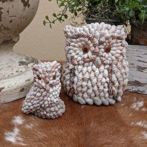 Vintage Sea Shell Art Mama Owl and Baby Owl